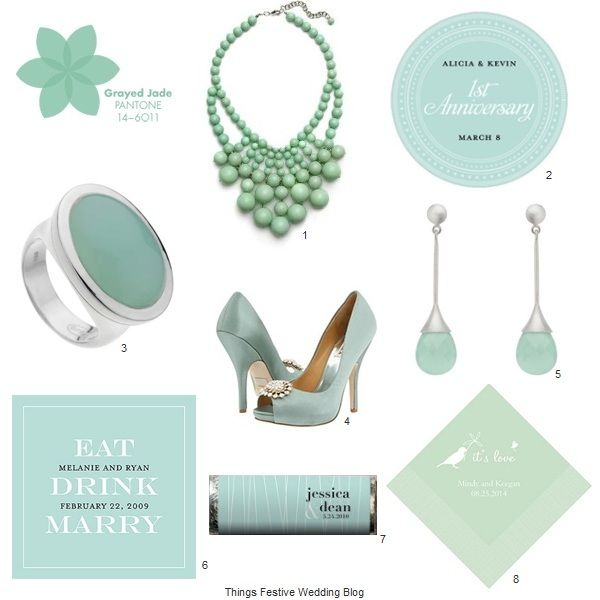Grayed Jade Wedding Accessories - Pantone Spring 2013 #pantonegrayedjade