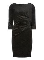 Womens **Billie & Blossom Petite Black Velour Shift Dress- Black