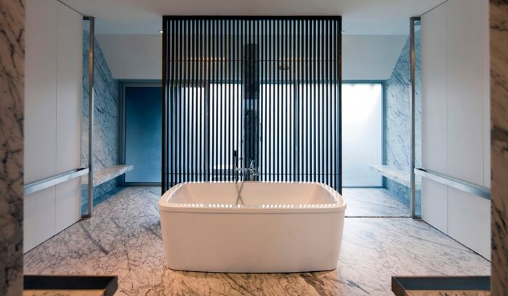 Scherm tussen bad en douche