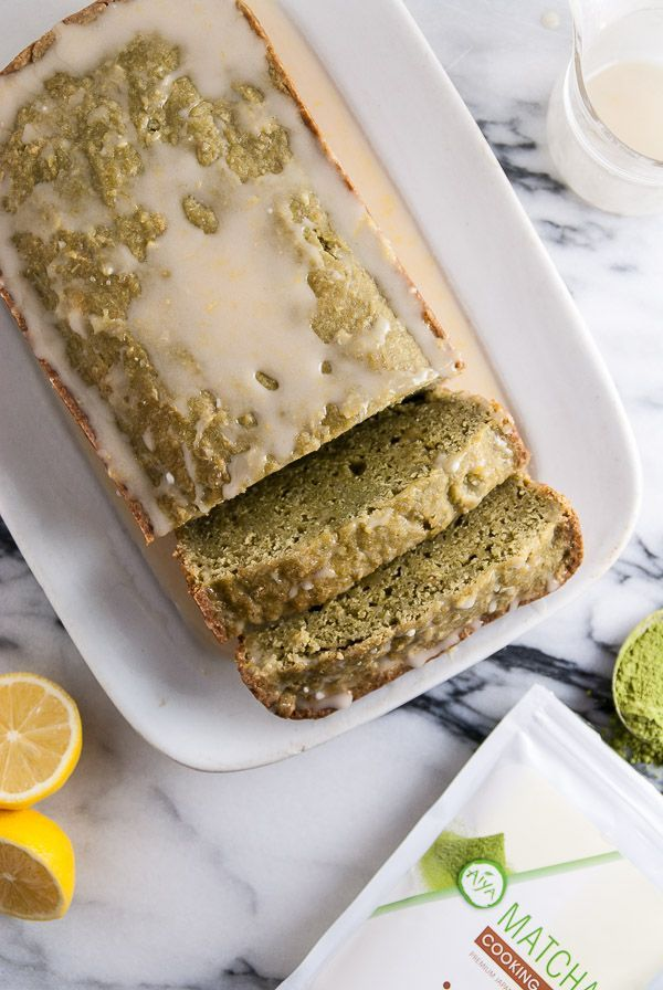 Vegan pound cake with flavors of matcha and a vegan lemon icing drizzled on top.