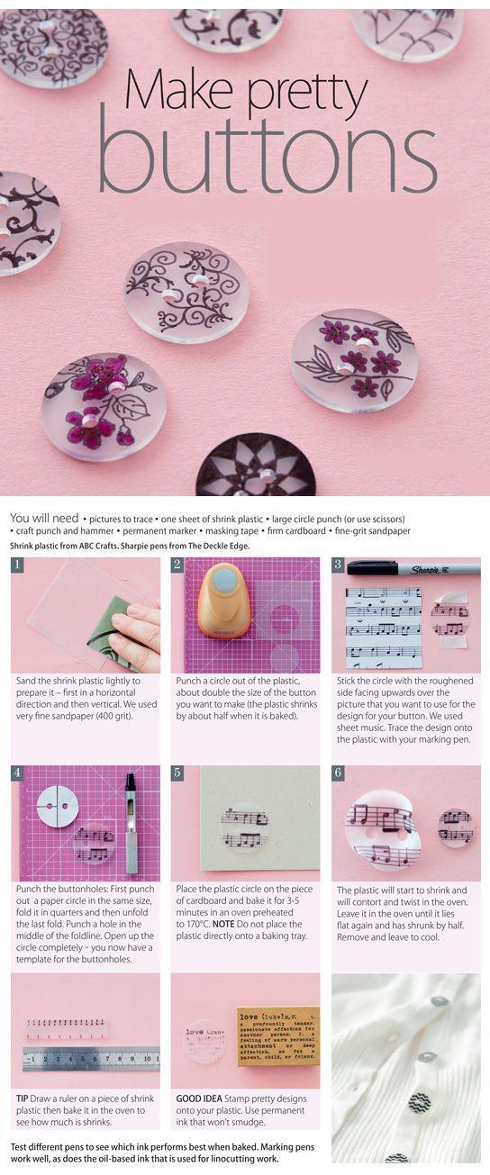 Make pretty buttons | Boutons  en plastique fou / plastique dingue