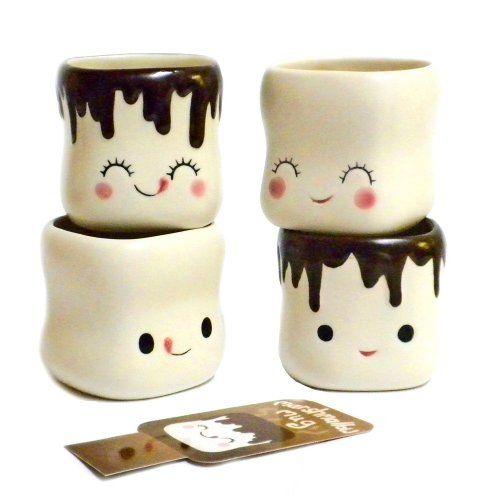 Cute Marshmallow Shaped Hot Chocolate Mugs Ceramic Set Of