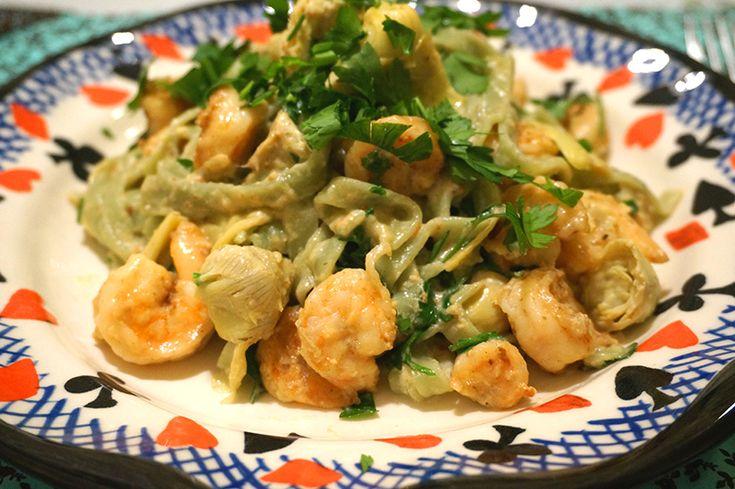 receita | massa com camarão e alcachofras