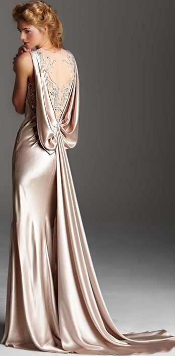 Champagne dressu2014 so elegant. Love the back.