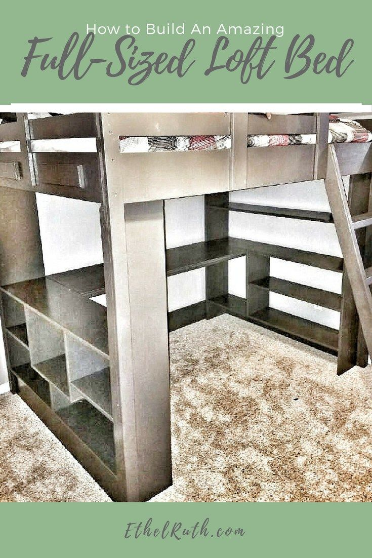 DIY, loft bed - full-sized loft bed, loft bed with desk, loft bed with shelves, bedroom ideas, bed ideas, full-sized bed