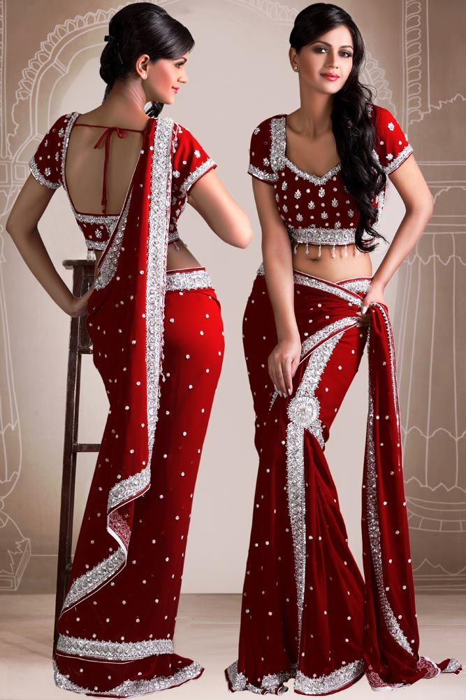 Red & Silver Saree & Blouse, from http://www.bharatplaza.in/