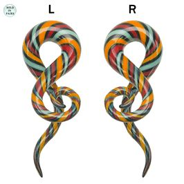 (2 gauge to 1/2inch) Glass Spiral Taper Multi Color - Sold as Pair!