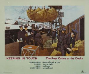 Keeping in touch – the Post Office at the Docks, 1962. Part of a set of four postcards based on images from our archive illustrating the theme of delivering the mail by sea. £2.50 for four postcards.