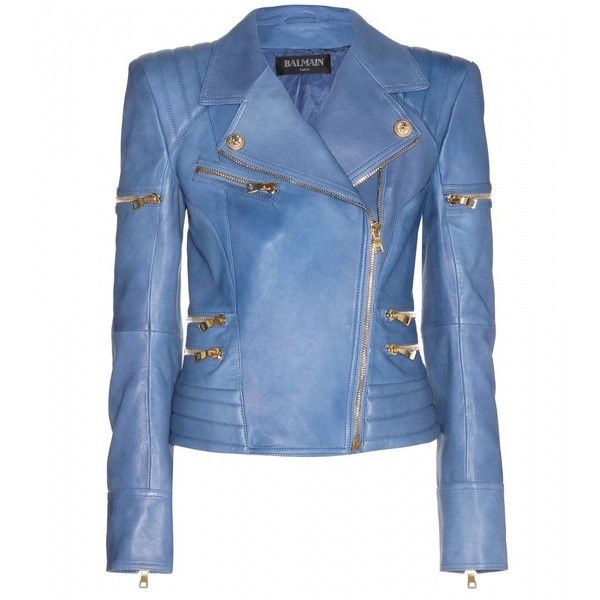 Balmain Leather Jacket (5 980 AUD) ❤ liked on Polyvore featuring outerwear, jackets, coats, leather jacket, balmain, bleu, biker jacket, leather jackets, shiny jacket and biker style jacket