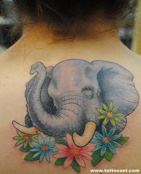 Beautiful Elephant Tattoos | Beautiful Colored Flowers And Elephant Head Tattoo