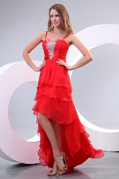 Chiffon A-Line Spaghetti Strap Party Gown sfp2351 - http://www.shopforparty.com/chiffon-a-line-spaghetti-strap-party-gown-sfp2351.html - COLOR: Red; SILHOUETTE: A-Line; NECKLINE: Spaghetti Strap; EMBELLISHMENTS: Beading , Crystal , Draped , Tiered; FABRIC