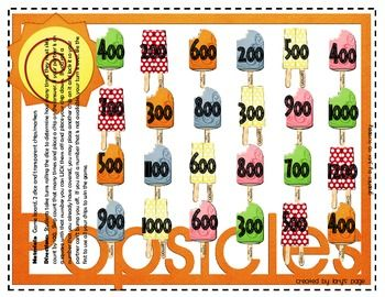 This one page game board is a great way to practice skip counting by 100s.  This activity can be played at centers, quick finishers or for homework.Give each student 5 or 6 chips/markers