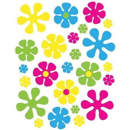 Retro Flowers Window Clings