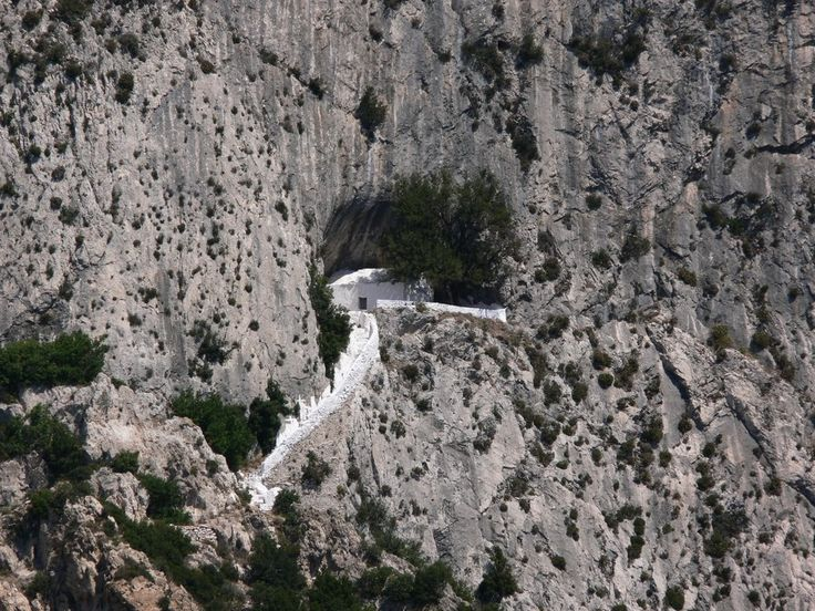 """Pythagoras Cave, Samos, Greece - photo from protothemanews;  """"The cave system on Mt. Kerdis, on the island was once home to the famous mathematician and philosopher, Pythagoras. He fled here when he was pursued by the tyrant Polycrates at around 400 B.C.""""  Actually there are 2 caves – """"Pythagoras's 'living cave' and a classroom for his teaching. The chapel of St. John was later built at one of the caves."""""""