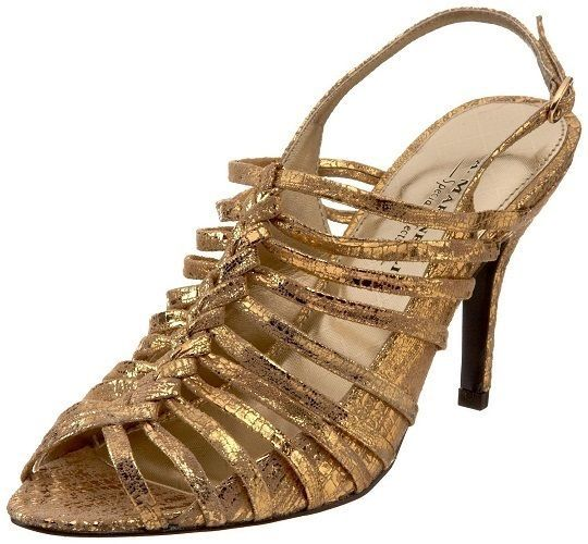 A. Marinelli  Women's Shoes Express Slingback Sandals Gold Metallic 11 M #AMarinelli #Slingbacks #Party