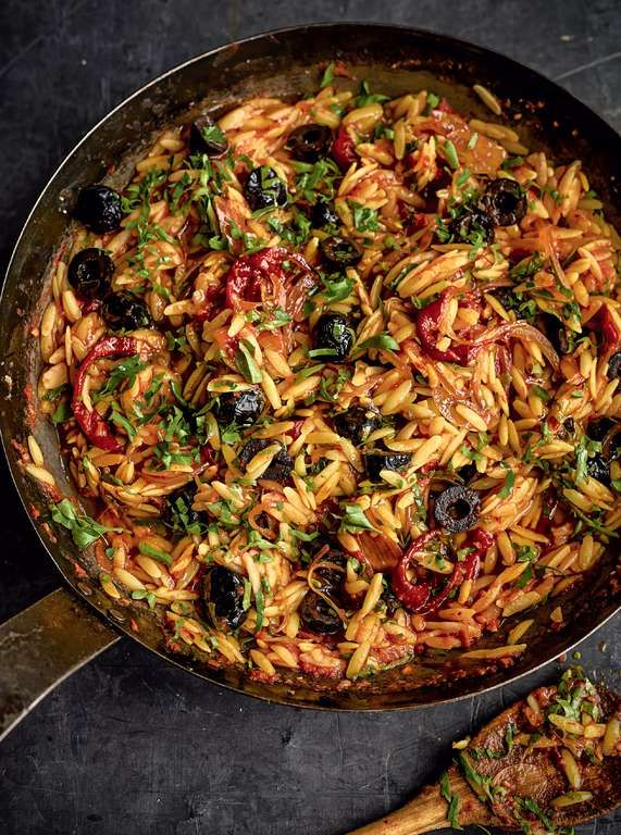 Red Orzo Risotto with Goat's Cheese