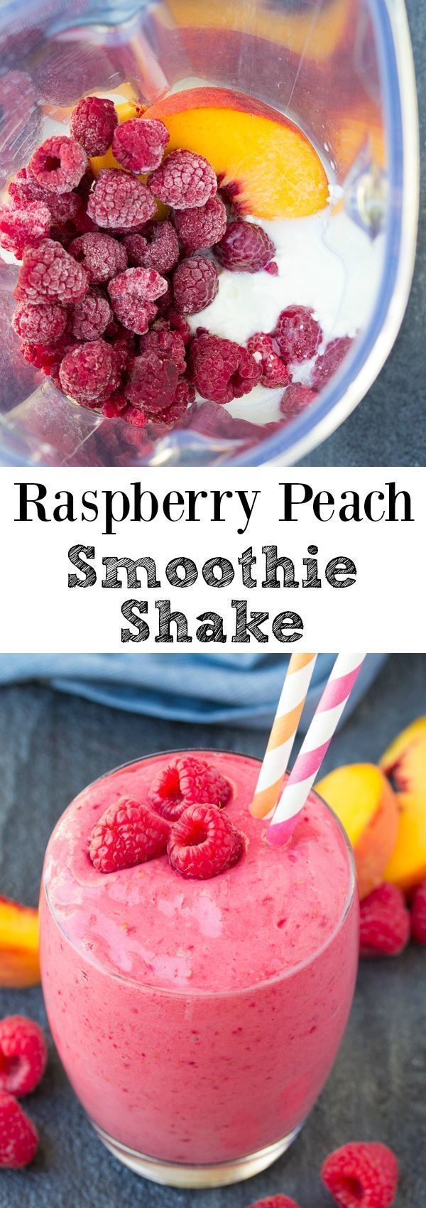 This Raspberry Peach Smoothie Shake is full of fresh raspberry flavor! With just a few ingredients, this vibrant smoothie is quick and easy to make! | www.kristineskitc... #ad