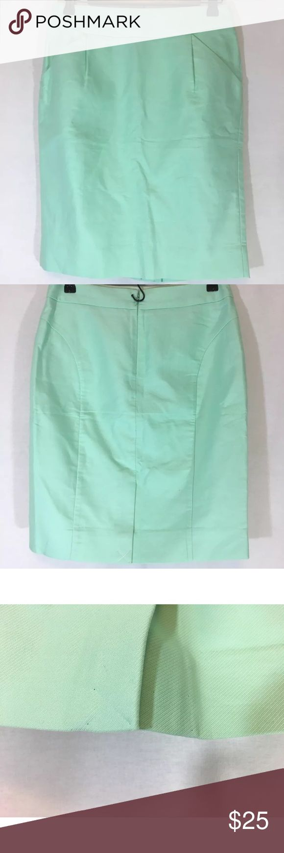 """J Crew Mint Seafoam Green Pencil Skirt Office Wear Beautiful double surged cotton pencil skirt! Back zipper closure. Has pockets! Slit was sewn but the thread has been pulled out which left small pin pricks as shown in picture.                                                            Measurements: Waist 30""""  Length 21""""   Slit 6"""" J. Crew Factory Skirts Pencil"""