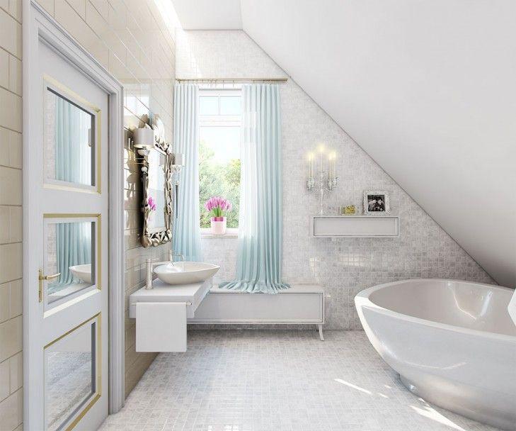 Wystrój łazienki w rezydencji pod Warszawą. Pokój kąpielowy z połyskującą mozaiką, z dodatkiem błękitnych dodatków i eklektycznych detali.