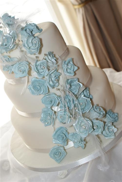 White And Ice Blue Wedding Cake Ice Blue Wedding