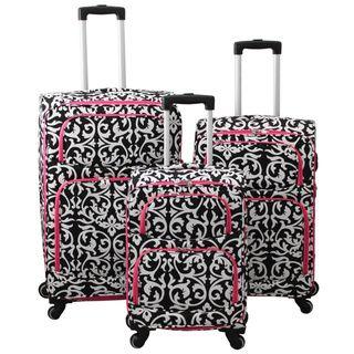 world traveler damask 3piece expandable lightweight spinner upright luggage set