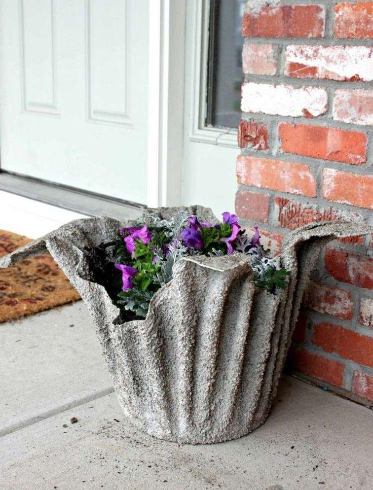 idée originale de décoration jardin pas cher en béton à fabriquer soi-même