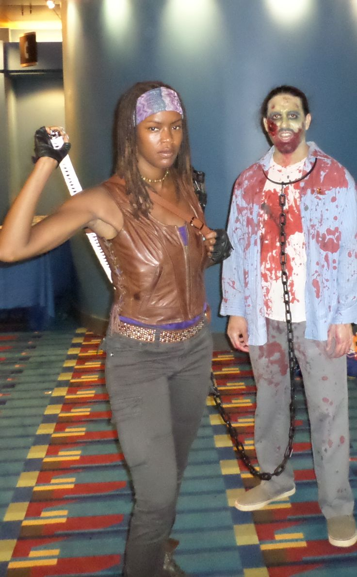 Really awesome Michonne costume...complete with zombie!