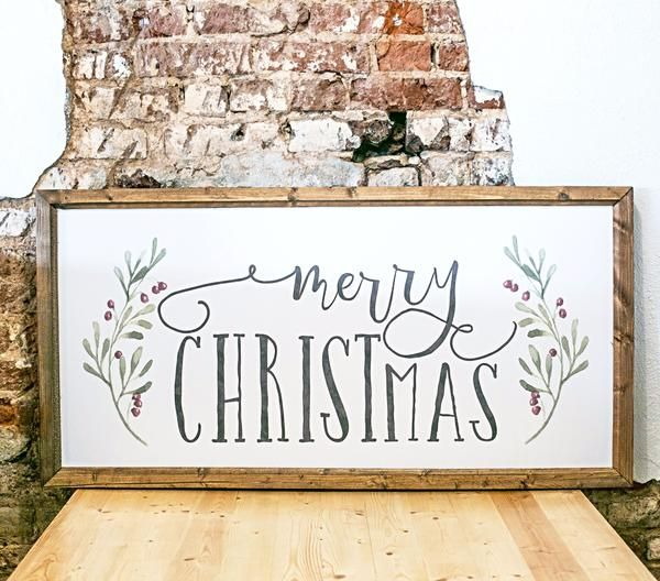 "Holly MERRY CHRISTmas X-Large - Approximately 45"" x 23"" White Printed Board + Watercolor Style Floral and Distressed Grey Text + Stained Wood Frame  Lightweight"