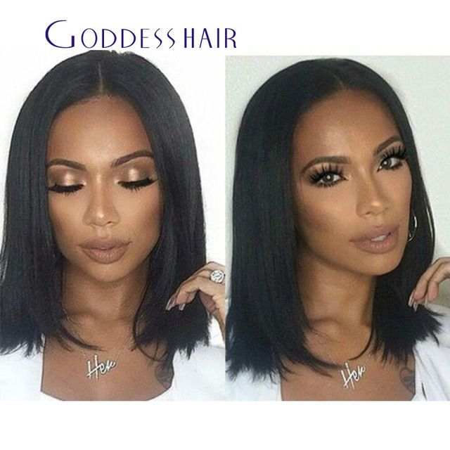 100% Human Hair U Part Wigs For Sale Short Silky Straight