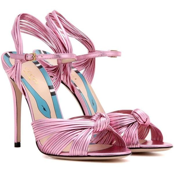 Gucci Leather Sandals ($795) ❤ liked on Polyvore featuring shoes, sandals, gucci, heels, high shoes, pink, heeled sandals, pink sandals, metallic shoes and metallic leather shoes