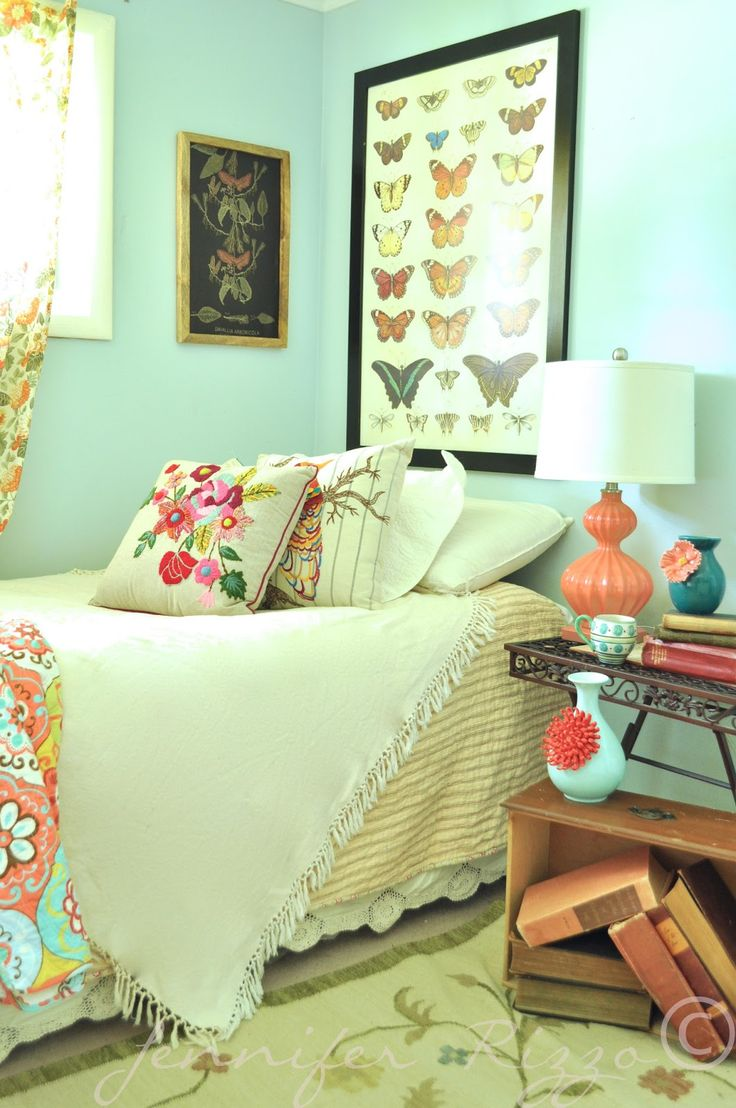 Bedroom, A Modern Bohemian Bedroom With Pastel Green And ... on Modern Bohemian Bedroom Decor  id=32614