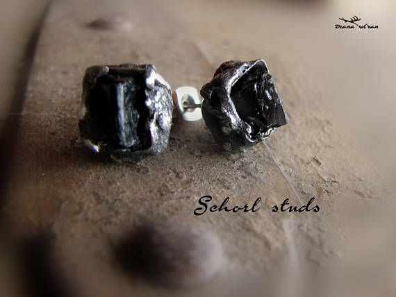 Schorl studs natural black tourmaline crystals earrings 316