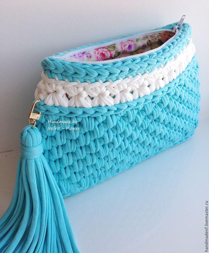 """Купить Вязаная сумка на цепочке """"Белые цветы"""" - голубой, однотонный, белый, вязаная сумка"""