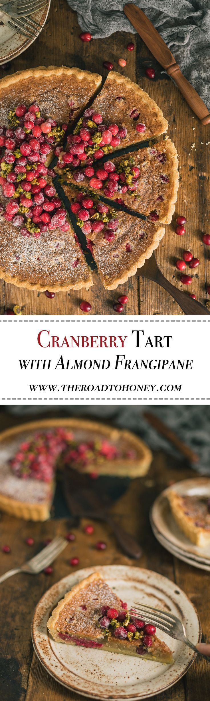Cranberry Tart with Almond Frangipane - This French style fruit tart stars tart cranberries & a nutty almond frangipane nestled in a buttery pastry shell & topped with sugared cranberries & honeyed pistachios. It's elegant, yet easy & sure to impress at parties. #CranberryRecipes #WinterRecipesDessert #HolidayRecipesDesserts
