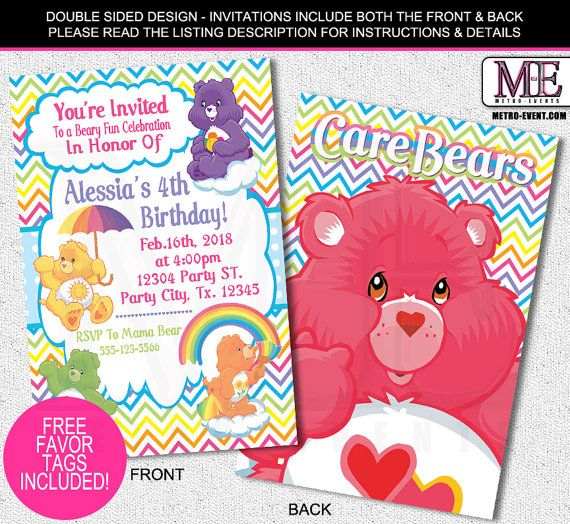 The 10 best care bears birthday party ideas images on pinterest care bears birthday invitations filmwisefo