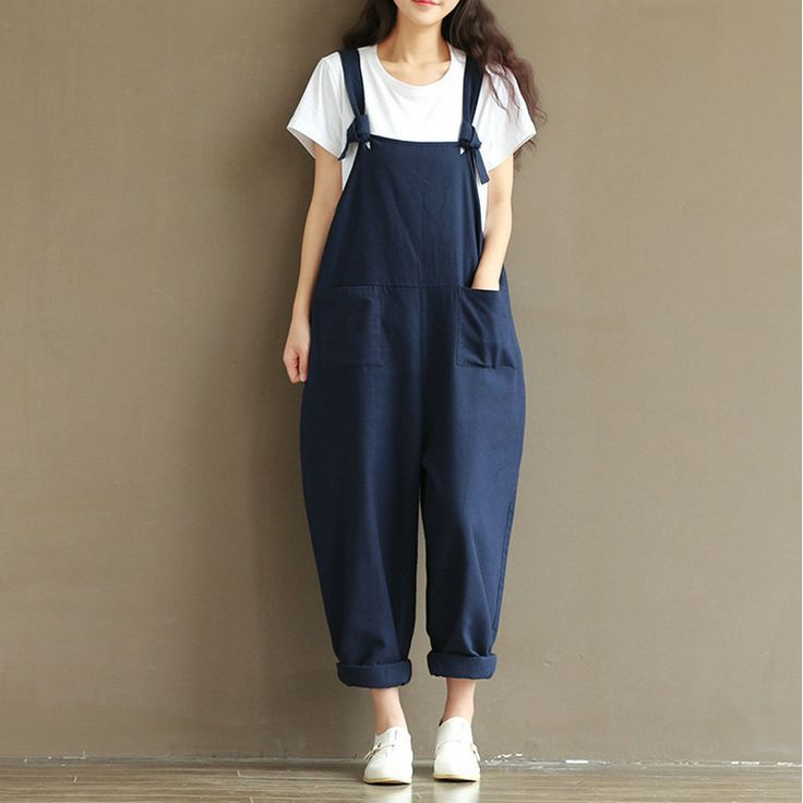 nice Tendance salopette 2017 - Autumn Womens Cotton Linen Overalls Navy Blue Solid Jumpsuits Street Casual Pock... Check more at https://listspirit.com/tendance-salopette-2017-autumn-womens-cotton-linen-overalls-navy-blue-solid-jumpsuits-street-casual-pock/