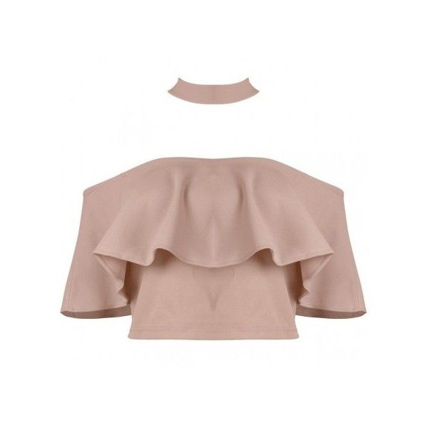 Choker Collar Bardot CROP TOP ($36) ❤ liked on Polyvore featuring tops, flounce tops, brown tops, bodycon crop top, off shoulder ruffle top and flutter-sleeve top