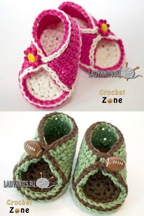 Вязание крючком пинетки - сандалии для мальчиков и девочек