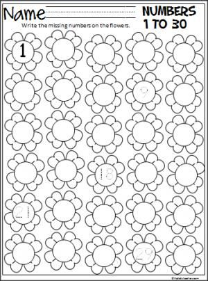 Free spring flowers number writing practice worksheet for numbers 1 to 30.  After writing the missing numbers, students can color the flowers.