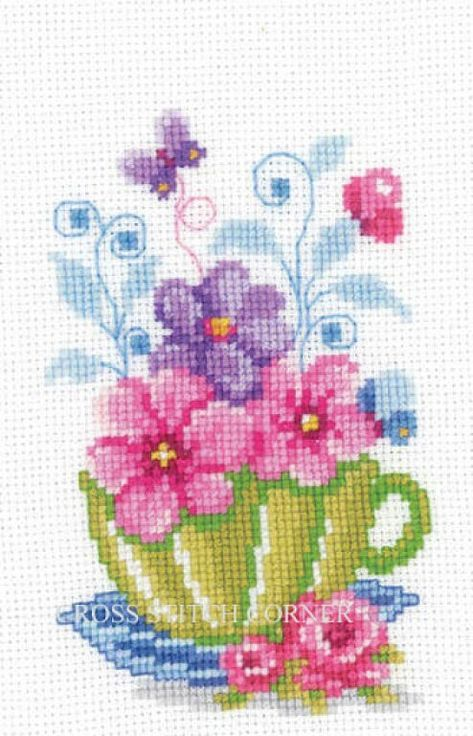 Kitchen teacup and butterfly cross stitch.