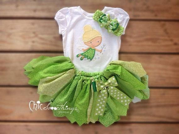 Fabric Tutu, TINKED, Tinkerbell tutu, Photo Prop Tutu, Childrens Toddler Halloween costume, Birthday Tutu, tutu
