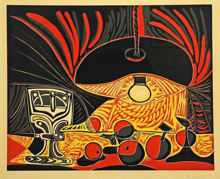 Pablo Picasso - Still Life with a Glass by Lamplight (linoleum cut print), 1962
