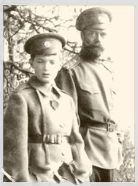 "Tsar Nicholas ll of Russia with the Tsarevich Alexei Nikolaevich Romanov of Russia. ""AL"""