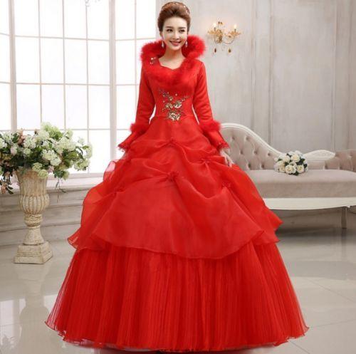 Women-039-s-Winter-Long-Sleeve-Rhinestone-Faux-Fur-Collar-Bubble-Wedding-Dress-Size