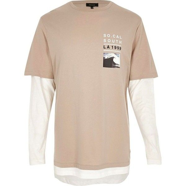 River Island Stone double layer T-shirt ($3.74) ❤ liked on Polyvore featuring men's fashion, men's clothing, men's shirts, men's t-shirts, mens double layer long sleeve t shirt, mens tall shirts, mens long sleeve shirts, mens base layer shirts and mens crew neck t shirts