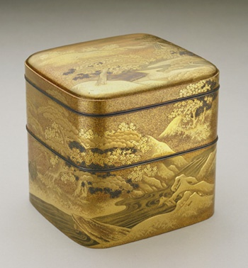ncense box  late 18th century    Dogyoku , (Japanese,   Edo period or Meiji era     Lacquer, gold, silver, shell, and wood  H: 11.3 W: 10.6 D: 11.3 cm   Japan