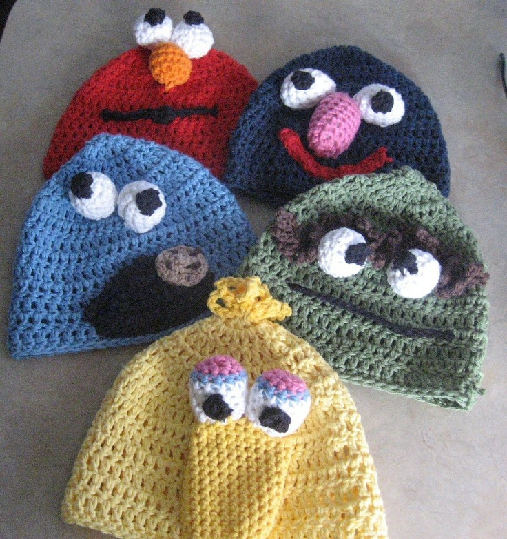 Omigosh!!! Too cool for the street! Maybe I can figure out how to knit this... Hmm...: Crochet Ideas, Crochet Projects, Crochet Hats, Crafty Things, Crochet Crafts, Sesame Streets, Street Hats, Street Crochet, Baby Stuff