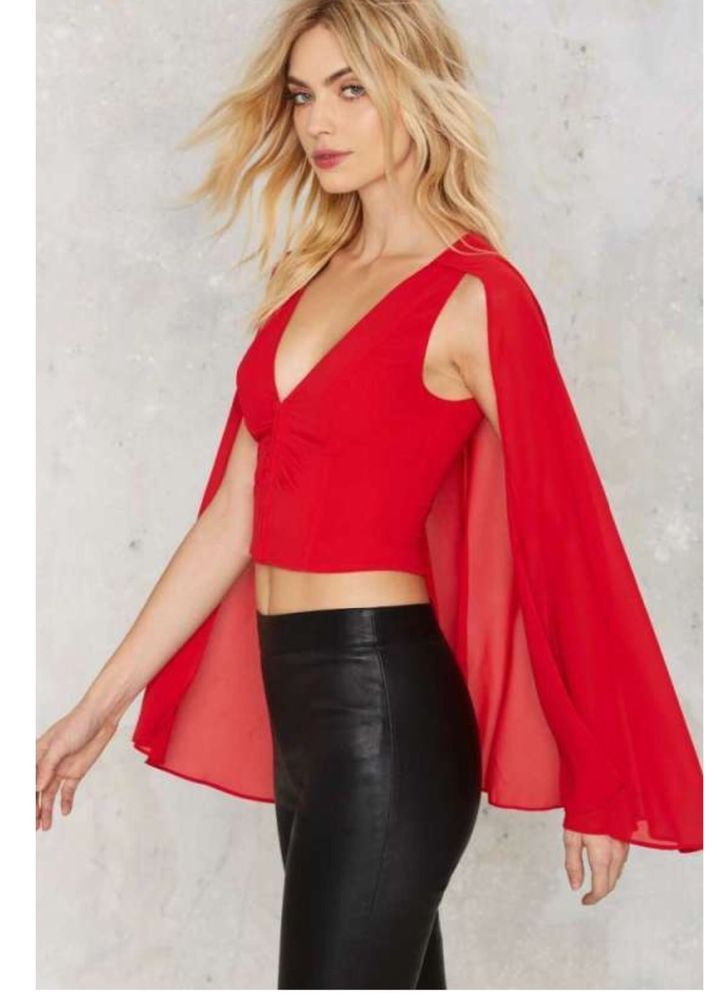 Nastygal red cape top. L. Boho hippie festival chic. $58!! #Nastygal #Cape