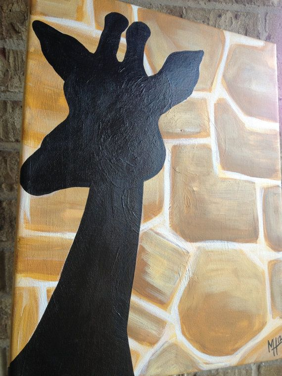 WILD Giraffe Print Acrylic on Canvas Original Painting
