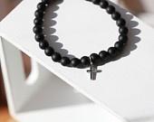 Mens cross Bracelet - MATT Black onyx  Beaded Bracelet with cross  - Matt Onyx